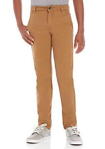 Crown & Ivy™ Boys 8-20 Flat Front Cuevas Tan Pants