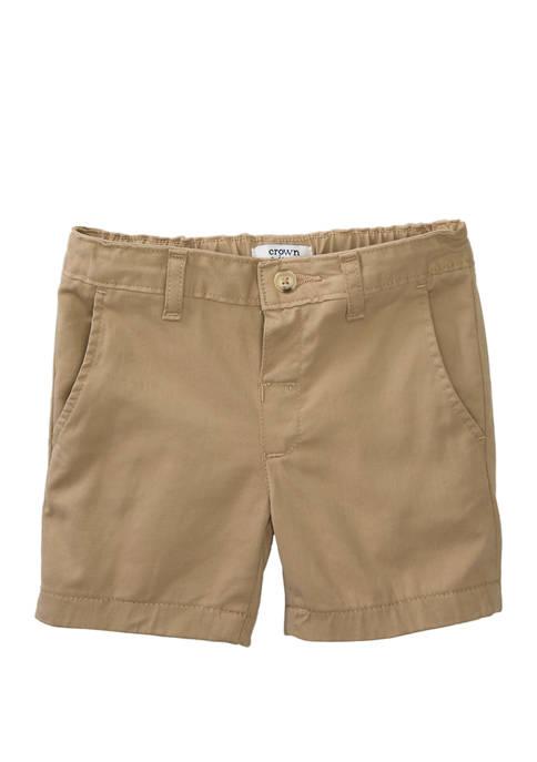 Crown & Ivy™ Boys 4-7 Twill Khaki Shorts