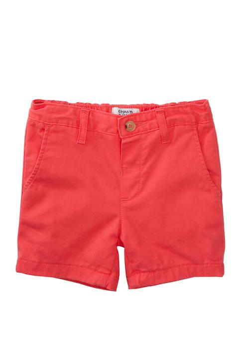 Crown & Ivy™ Boys 4-7 Twill Coral Shorts