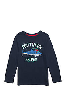 Boys 4-8 Long Sleeve Graphic Crew Slub Tee