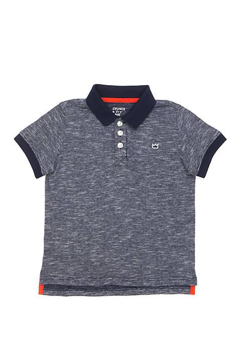 Boys 4-7 Polo Shirt with Flat Knit Collar