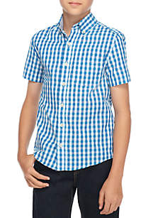 Boys 8-20 Short Sleeve Woven Plaid Shirt