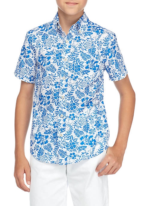 Crown & Ivy™ Boys 8-20 Short Sleeve Floral
