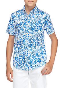 Boys 8-20 Short Sleeve Floral Woven Button Down Shirt