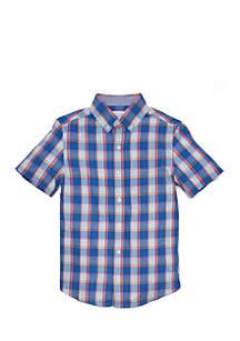 Boys 8-20 Short Sleeve Plaid Woven Shirt