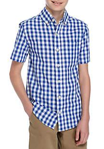 Short Sleeve Plaid Woven Shirt Boys 8-20