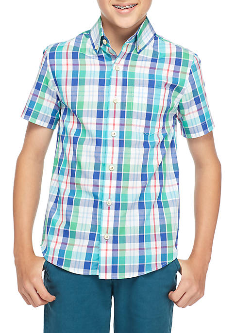 Crown & Ivy™ Boys 8-20 Short Sleeve Plaid