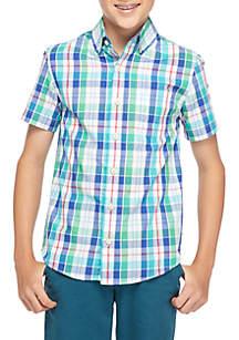 Boys 8-20 Short Sleeve Plaid Woven Button Down Shirt