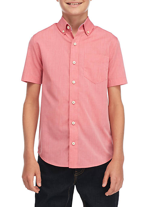 Crown & Ivy™ Boys 8-20 Short Sleeve Button