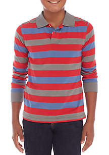 Boys 8-20 Long Sleeve Stripe Polo