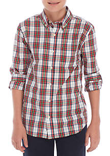 Boys 8-20 Long Sleeve Easy Care Woven Plaid Shirt