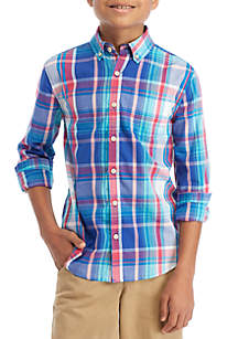 Boys 8-20 Long Sleeve Easy Care Woven Plaid Shirt