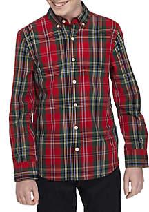 Boys 8-20 Long Sleeve Holiday Plaid Woven Shirt