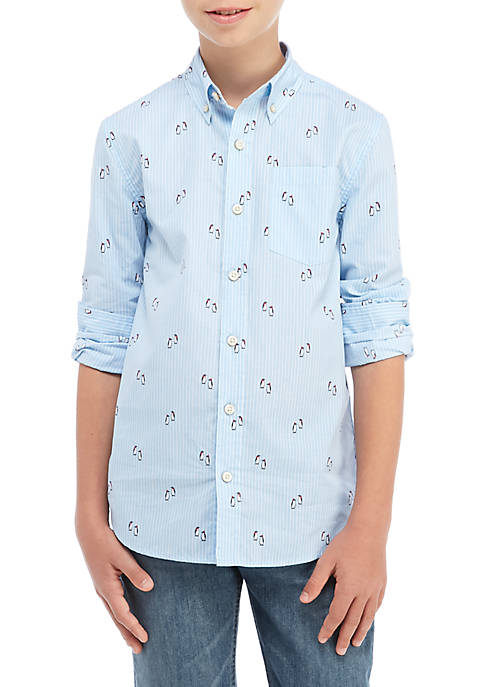 Boys 8-20 Long Sleeve Woven Print Shirt