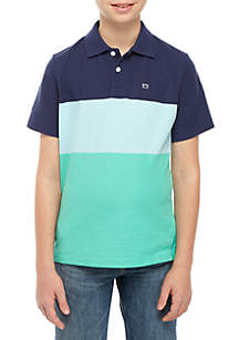 Crown & Ivy™ Boys 8-20 Short Sleeve Colorblock Polo
