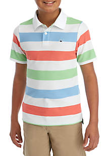 Crown & Ivy™ Boys 8-20 Short Sleeve Party Stripe Polo