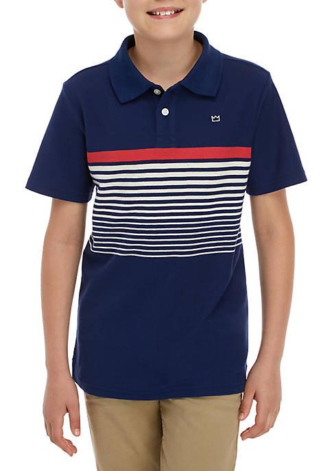 Boys 8-20 Short Sleeve Placed Polo Shirt