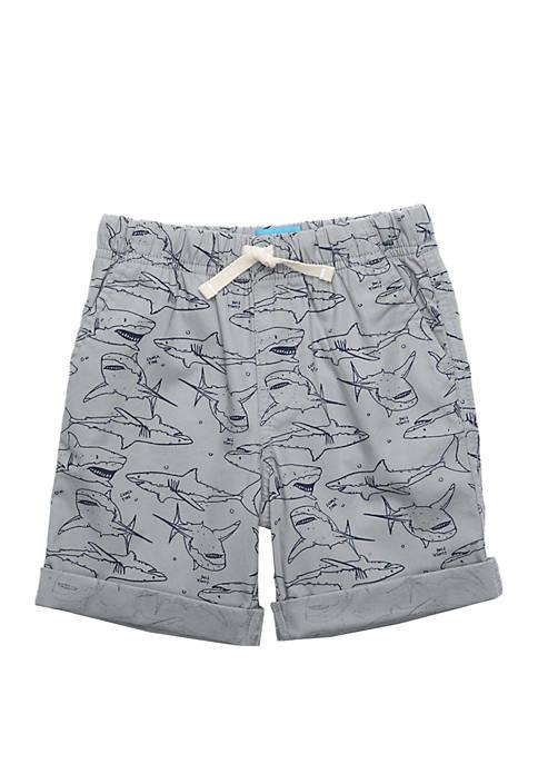 Boys 4-8 Allover Sharks Rolled Cuff Shorts