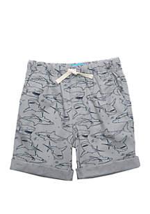 Lightning Bug Boys 4-8 Allover Sharks Rolled Cuff Shorts