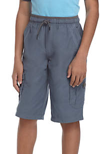 Boys 8-20 Peached Cotton-Blend Utility Shorts