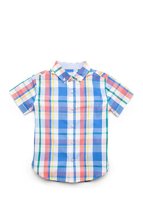 Crown & Ivy™ Boys 4-8 Plaid Woven Button