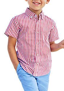 Boys 4-8 Plaid Woven Button Front Shirt