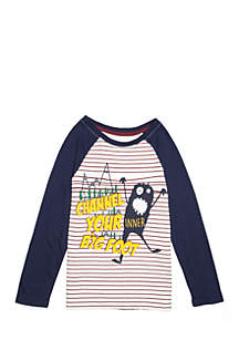 Boys 4-10 Long Sleeve Inner Big Foot Raglan Tee