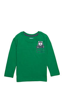 Boys 4-10 Long Sleeve Pocket Crew Neck Tee