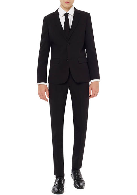 OppoSuits Boys 8-20 Black Knight Solid Color Suit