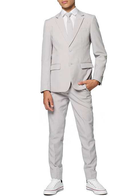 OppoSuits Boys 8-20 Groovy Gray Solid Color Suit