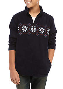Crown & Ivy™ Boys 8-20 Chest Fairisle Polar Fleece Jacket