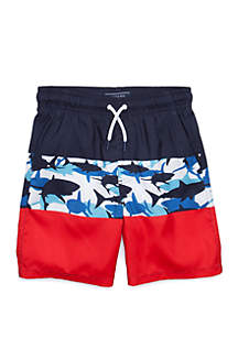Crown & Ivy™ Boys 8-20 Color Block Swim Shorts