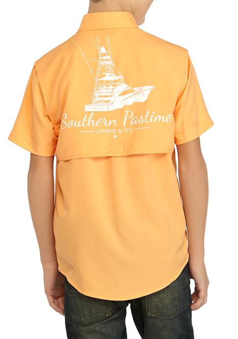 Crown & Ivy™ Boys 8-20 Short Sleeve Fishing