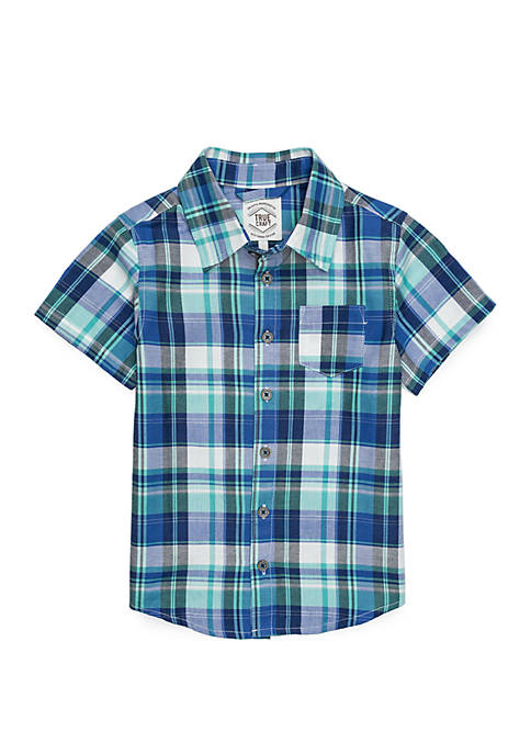 Boys 4-8 Pocket Short Sleeve Woven Shirt