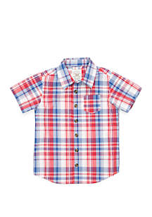 TRUE CRAFT Boys 4-7 One Pocket Short Sleeve Woven Shirt