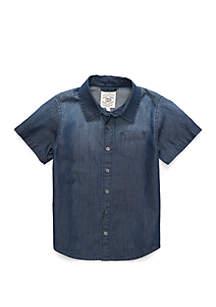 TRUE CRAFT Boys 4-8 One Pocket Short Sleeve Woven Shirt