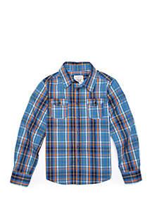 TRUE CRAFT Boys 4-8 Long Sleeve Woven Plaid Shirt