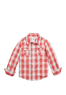 TRUE CRAFT Boys 4-8 Long Sleeve Woven Plaid Shirt