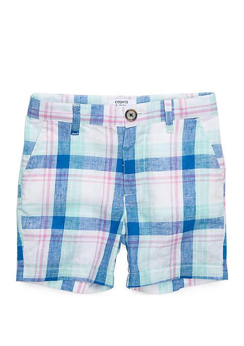 Boys 4-8 Plaid Flat Front Shorts