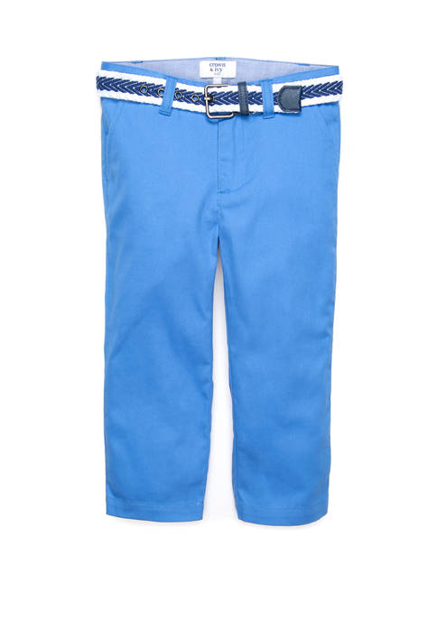 Crown & Ivy™ Boys 4-7 Belted Flat Front