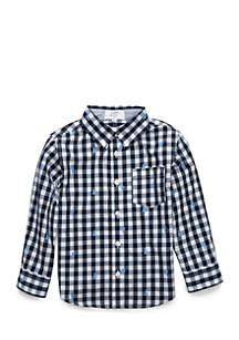 Boys 4-7 One Pocket Long Sleeve Woven Shirt