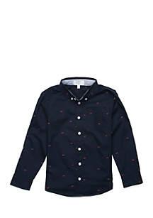 Crown & Ivy™ Boys 4-7 Long Sleeve Shark Button Down Shirt