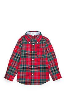 Boys 4-7 Long Sleeve Woven Pocket Shirt
