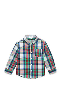Toddler Boys One Pocket Long Sleeve Woven Shirt