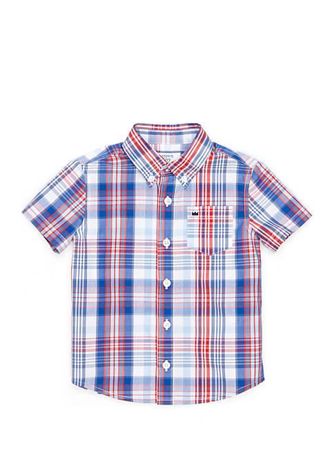 Boys 4-8 Short Sleeve One Pocket Button Down Shirt