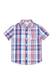 Crown & Ivy™ Boys 4-8 Short Sleeve One Pocket Button Down Shirt