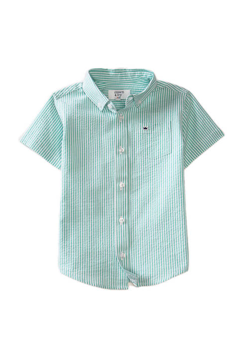 Crown & Ivy™ Boys 4-7 Short Sleeve Seersucker