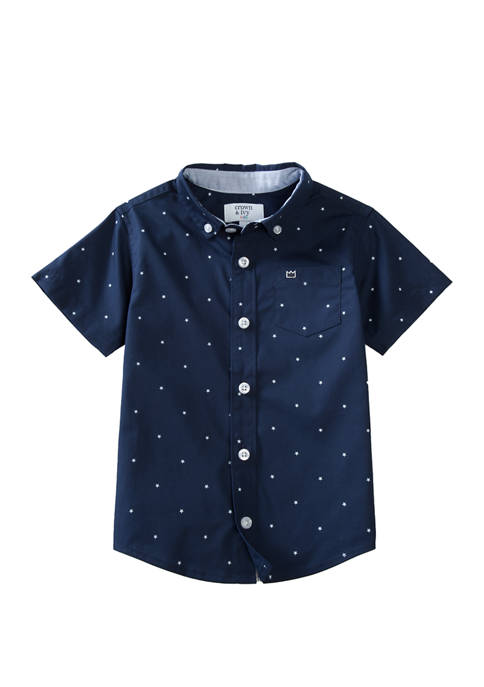 Crown & Ivy™ Boys 4-7 Short Sleeve Poplin