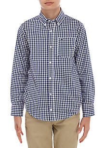 Crown & Ivy™ Boys 8-20 Long Sleeve Gingham Woven Shirt