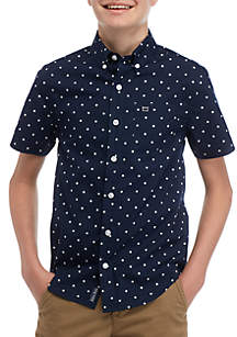 Crown & Ivy™ Boys 8-20 Short Sleeve Easy Care Woven Shirt